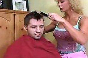 Hot Mature Cougar Cuts Hair And Gets Banged