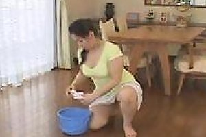 Mature Cleans Floor