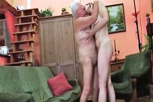 Horny Teen Girl Licking A Granny